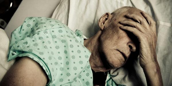 elderly man in ICU