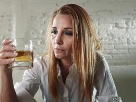 blonde drunk woman