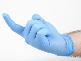 gloved finger