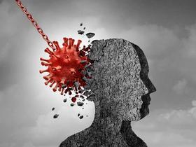 Coronavirus wrecking ball hitting a person's head