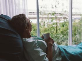 Person contemplating death