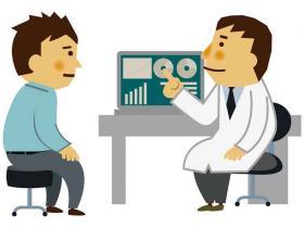 doctor showing patient his screen