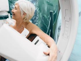 Elderly patient getting a mammogram