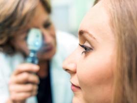 Young woman at optometrist