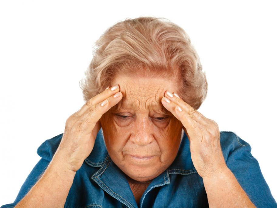 anxious elderly woman