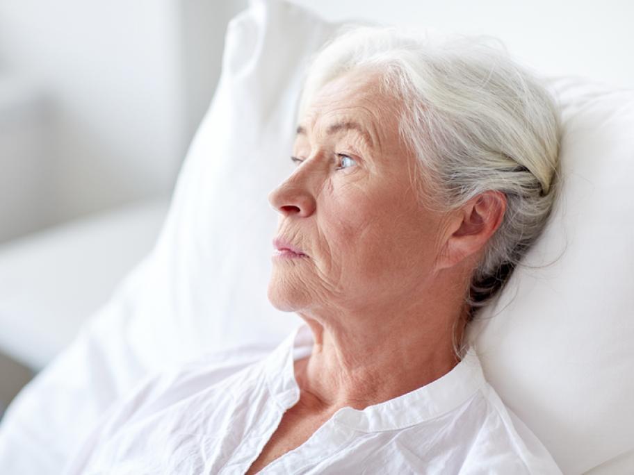 elderly woman in hospital