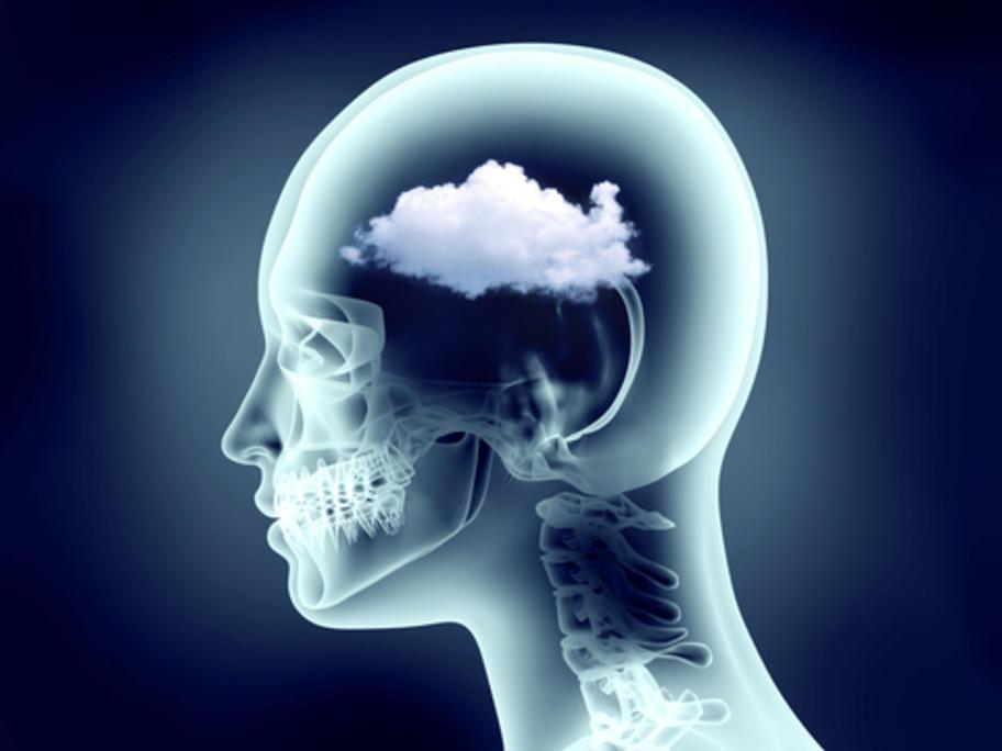 head with cloud inside it - suggesting 'brain fog'