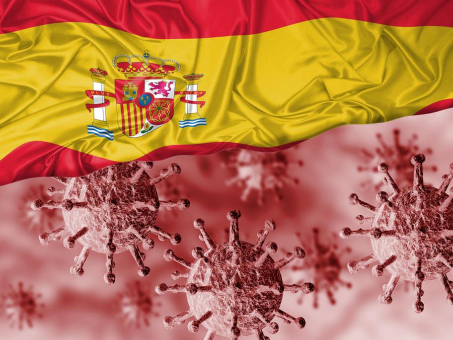 Coronavirus with Spanish flag