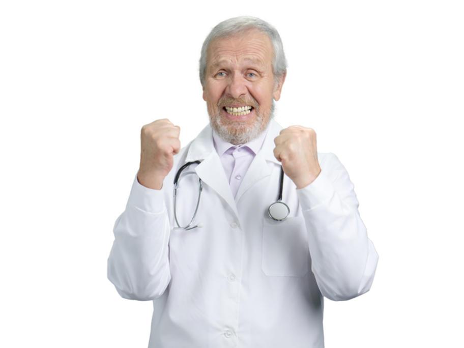 Happy older doctor