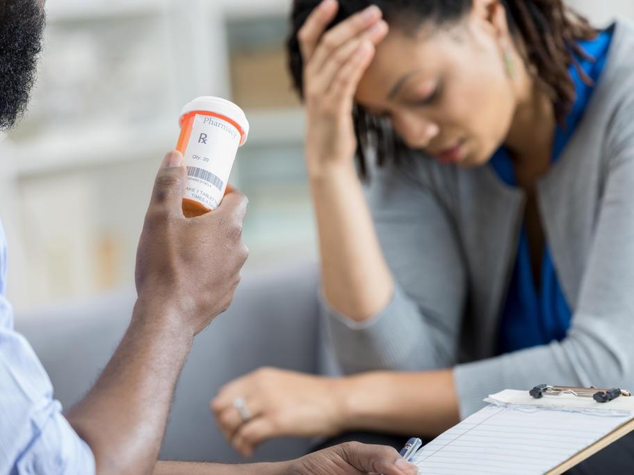 Woman receiving antidepressants