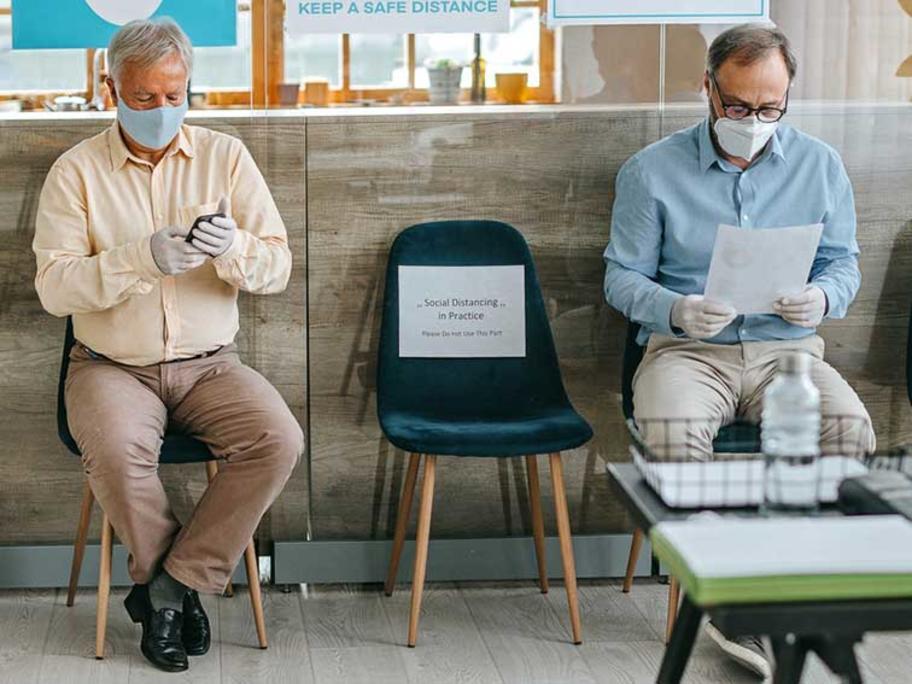 men in a waiting room