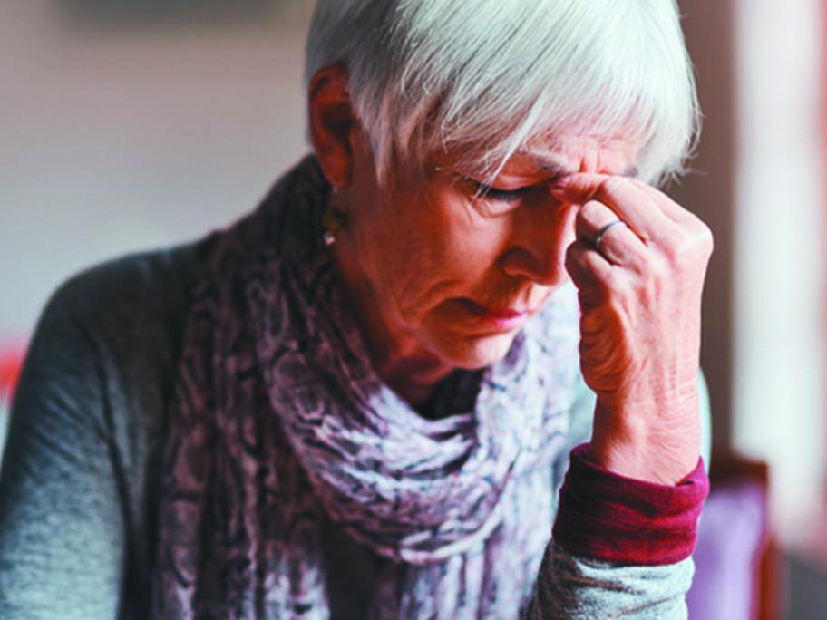 fatigued senior woman