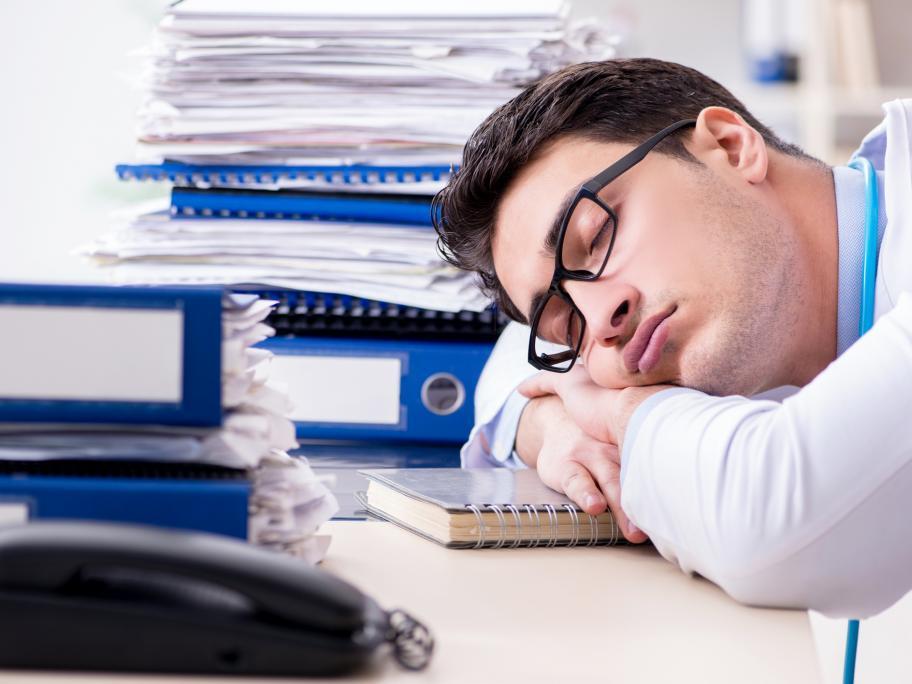 Overworked doctor
