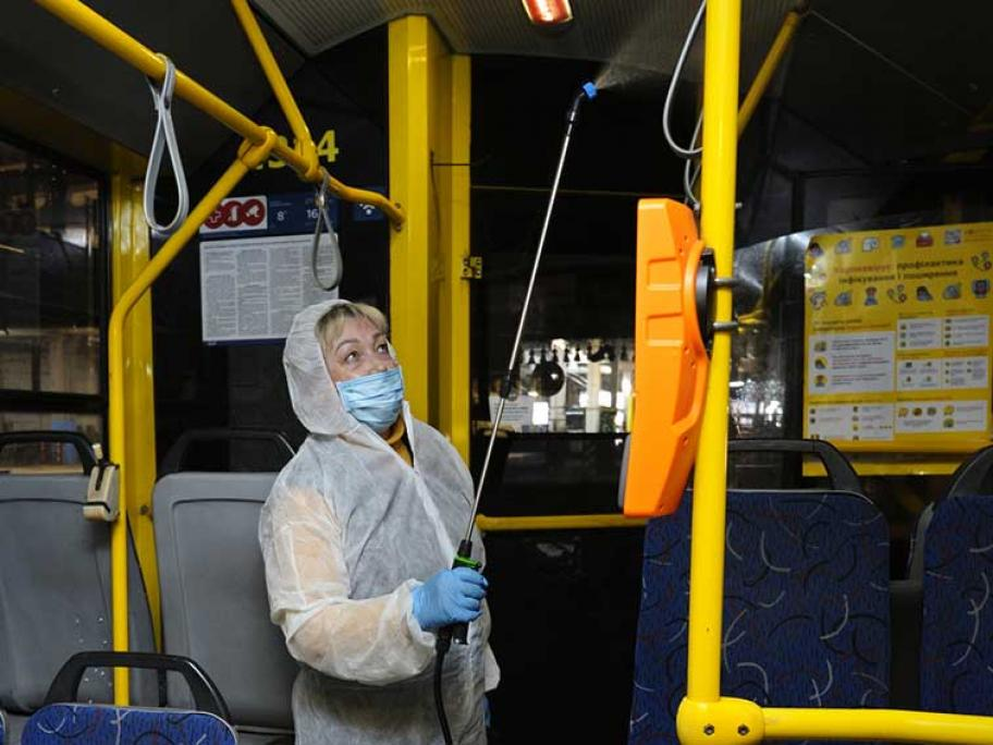 Disinfecting a bus