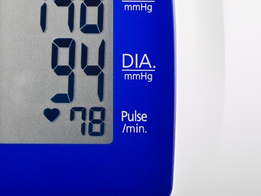 Blood pressure machine showing 148 over 94