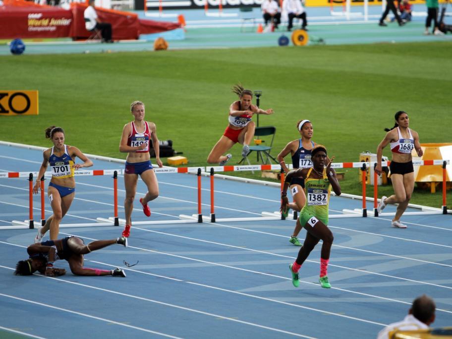 Athletes falling
