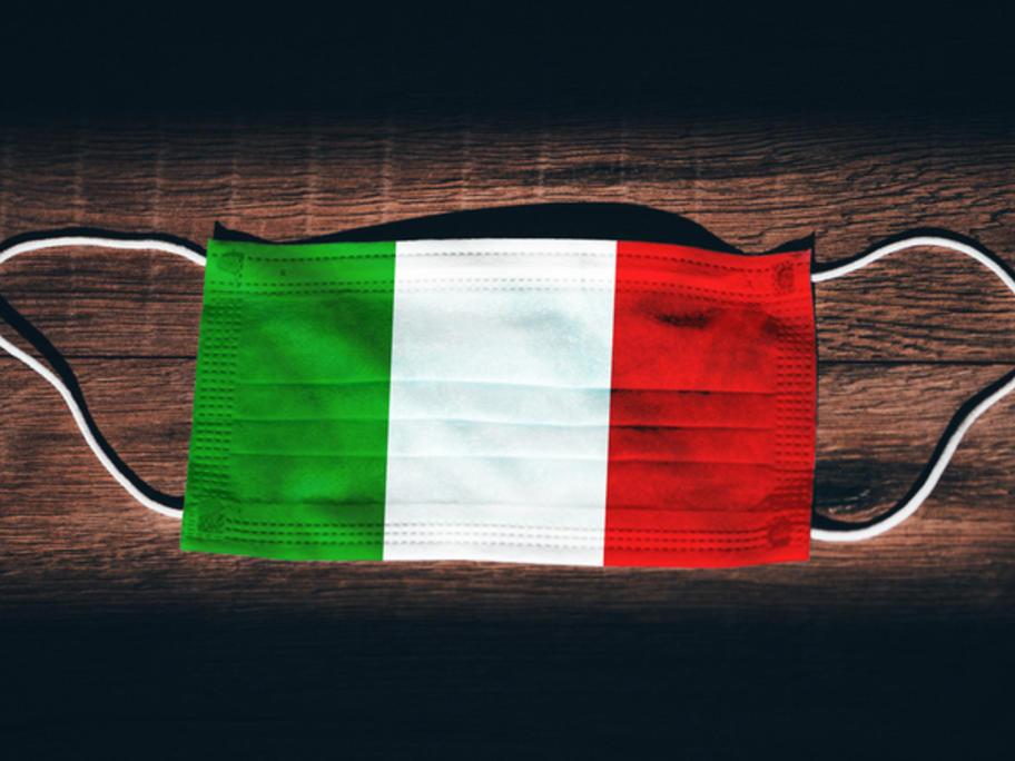 face mask in colours of Italian flag - Coronavirus