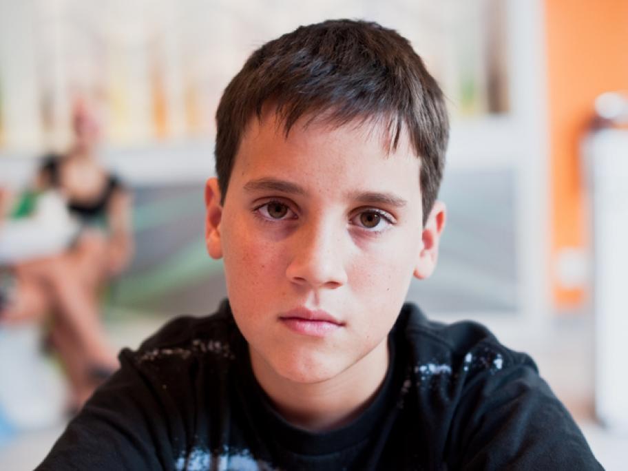 12-year old boy, sad face