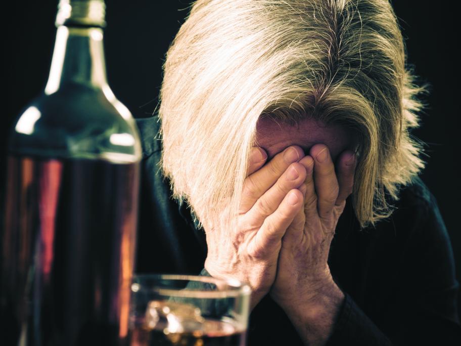 Senior with alcohol