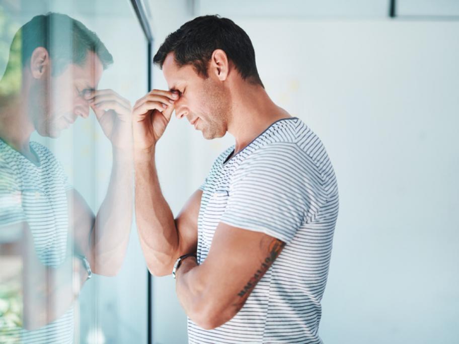 stressed depressed man in his 30s