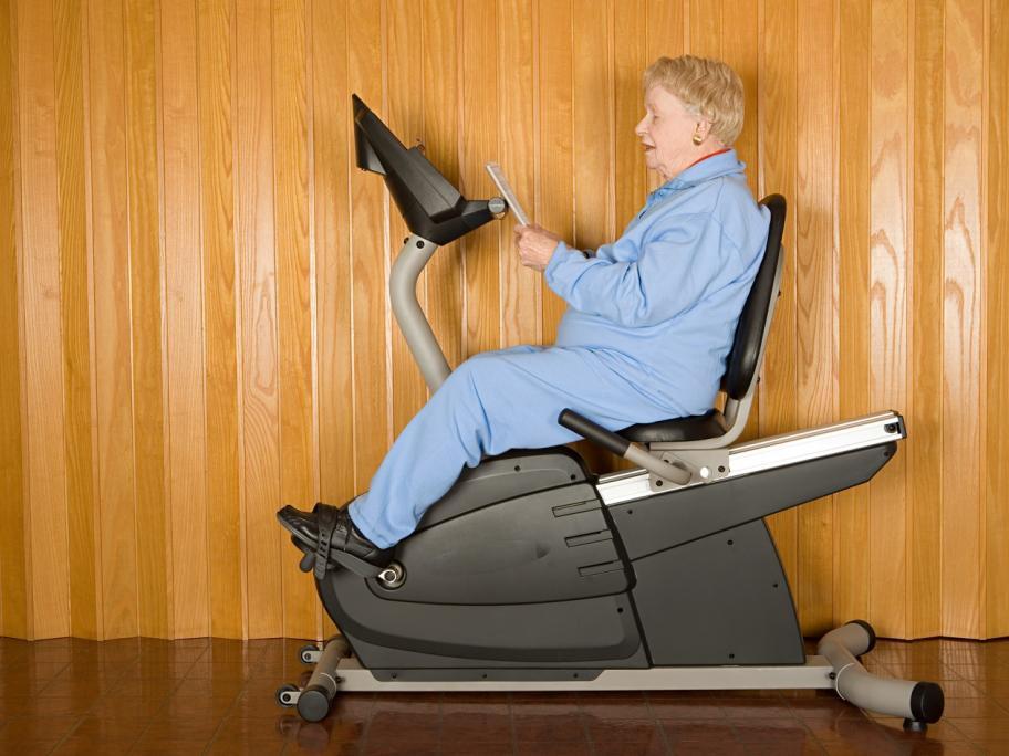 older woman on bike