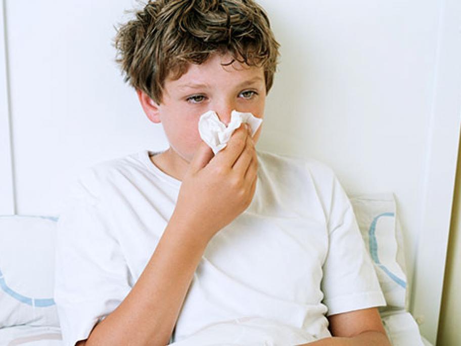 Boy with flu