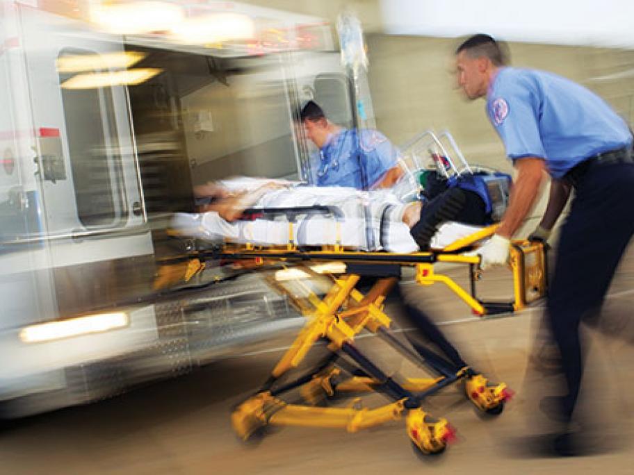 paramedics and ambulance in emergency