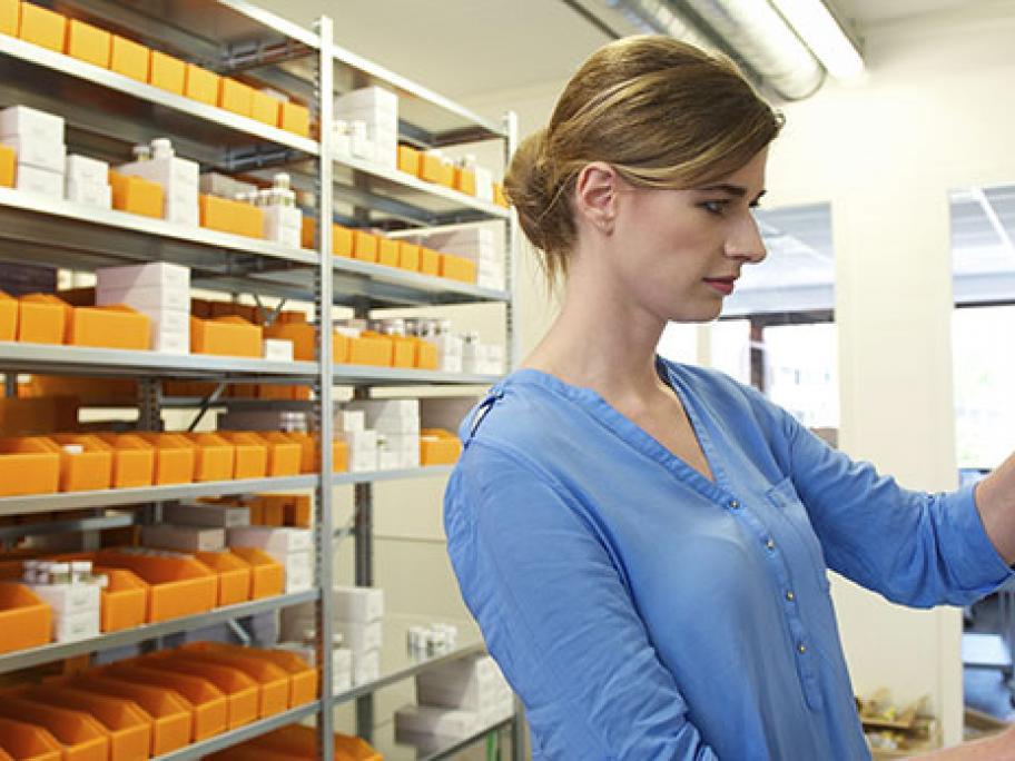 Checking chemist shelves