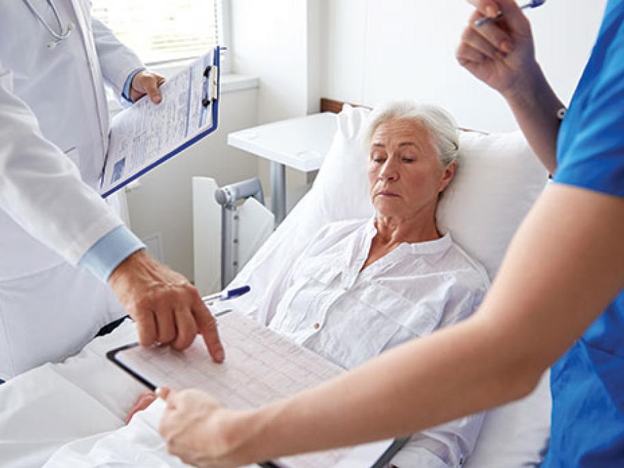 older woman in hospital