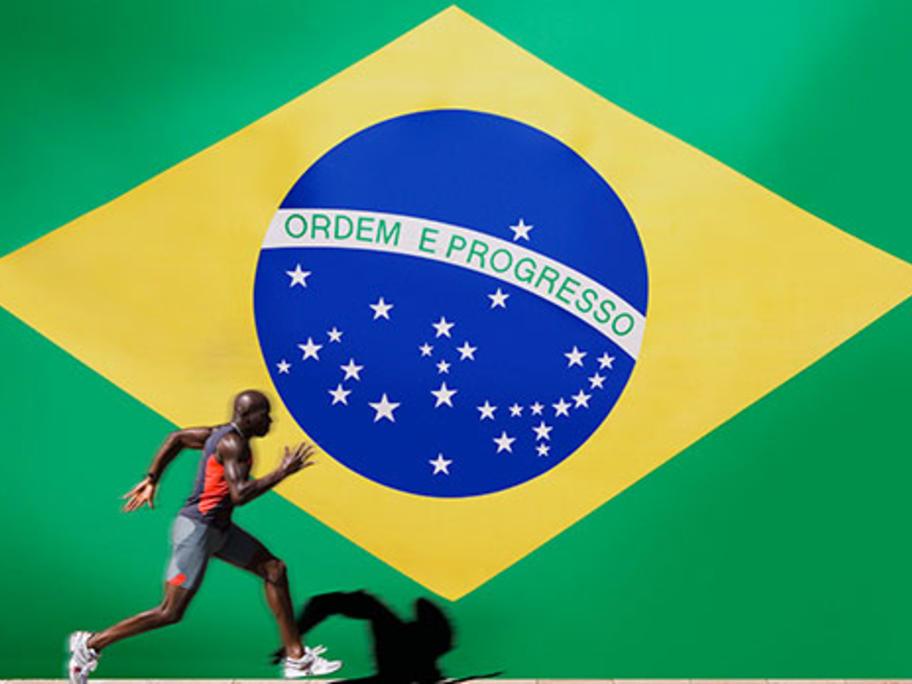 Brazilian flag and athlete