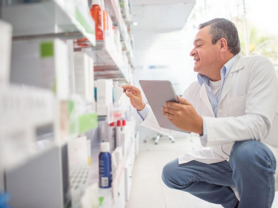 searching shelves for stock
