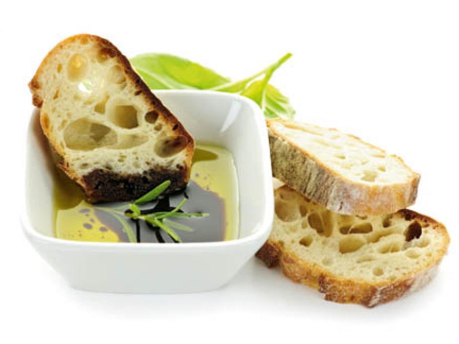 Balsamic vinegar and bread.